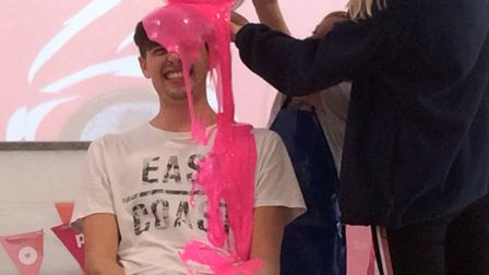 Jesse being grunged at Meadowgate Academy's wear it pink fundraiser. Picture: EMMA BIRD.