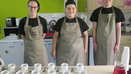 Bramley's team at Meadowgate Academy's Macmillan coffee morning. Picture: EMMA BIRD.