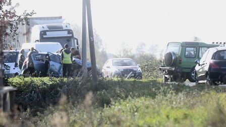 Several cars were involved in a crash at Lynn Road, Wisbech. Picture: IAN CARTER.