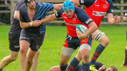Wisbech Rugby Club: Nathan Goodale on the charge. Picture: LEONARD VEENENDAAL.