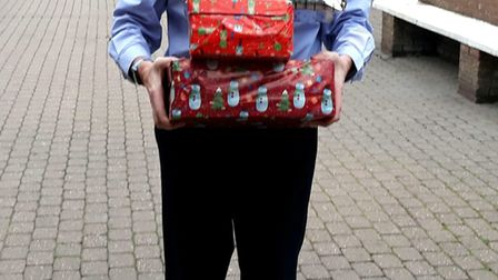 Kevin Smith, manager of The Horsefair in Wisbech, with shoe boxes for the Samaritans Purse appeal.