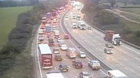 Junction 24 of the M25, where several lanes have been closed by a crash. Picture: www.motorwaycamera