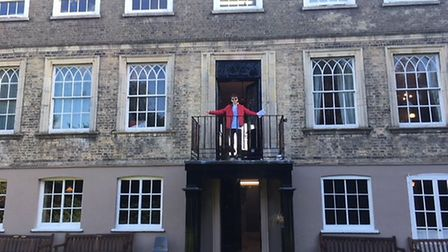 See the transformation of Wisbech Castle. Councillor Steve Tierney on the balcony of the castle. Pic