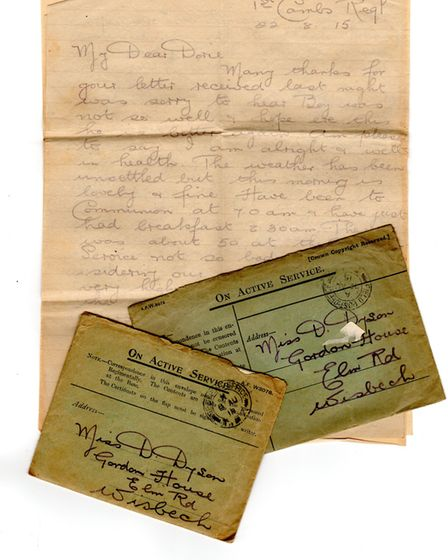 Letter from Sgt AA Dyson to his daughter. Picture: WISBECH MUSEUM