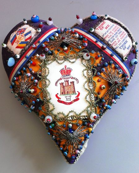 'Sweetheart' heart made by a recuperating soldier. Picture: WISBECH MUSEUM.