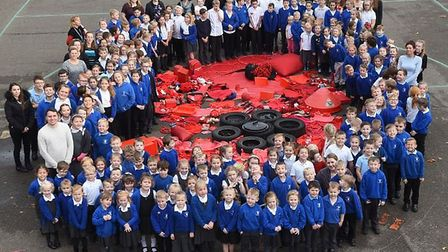 World War Two veteran special guest at Elm C of E Primary School's centenary celebration assembly. P
