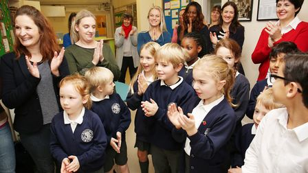 Guests at the opening of St John's Primary School's new library. Picture: DANNY LOO