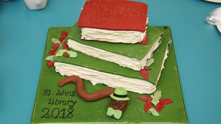 A cake made by a parent at the opening of St John's Primary School's new library. Picture: DANNY LOO