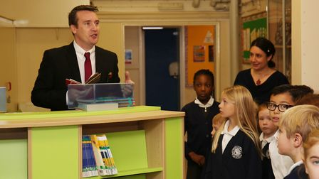 St John's Primary School head Simon Horleston welcomes guests at the opening of the new library. Pic