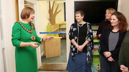 Mayor Cllr Barbara Fitzsimon speaks at the opening of St John's Primary School's new library. Pictur
