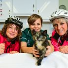 Ruby with the vets at Mimram Veterinary Centre in Welwyn and the cyclists that found her. Picture: M