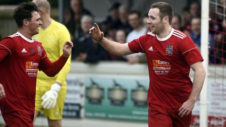 Danny Setchell (left) and Alex Beck (right) both scored in Wisbech Town's Cambs Invitation Cup win.