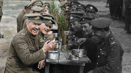 Colourised footage of They Shall Not Grow Old by WingNut Films with Peter Jackson. Original black an