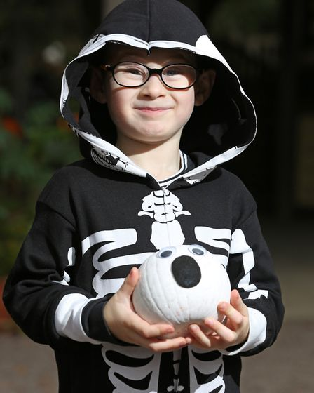 Best pumpkin winner Alfie Hukin, four, with his winning pumpkin at the Knebworth House Pumpkin Trail
