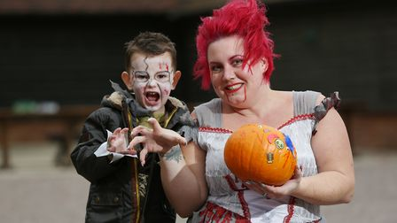 Diane and Alfie Byatt, three with their pumpkin entry and costumes at the Knebworth House Pumpkin Tr