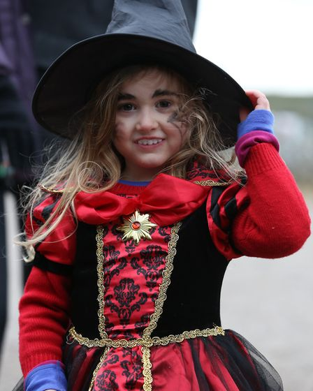 A girl dressed up for the Halloween costume competition at the Knebworth House Pumpkin Trail & Treat