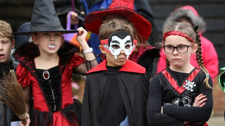 Competitors dressed up for the Halloween costume competition at the Knebworth House Pumpkin Trail &