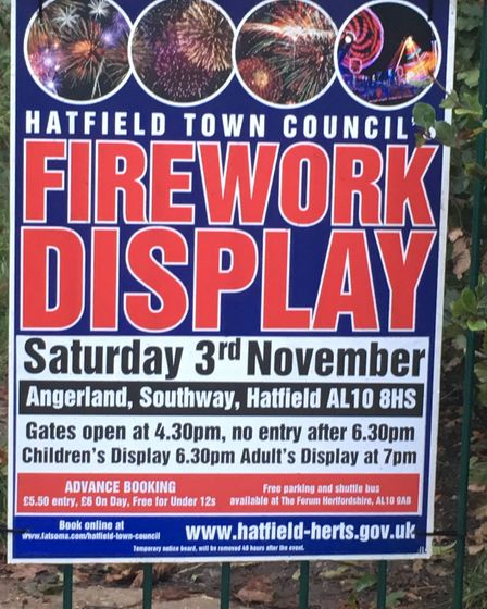 Hatfield Town Council's fireworks display will take place at Angerland on Saturday, November 3, 2018