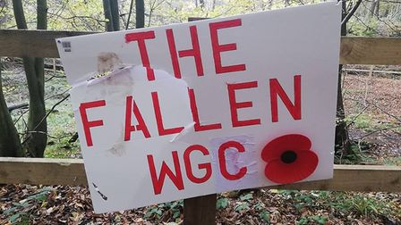 This sign, made by a member of #WGCRocks to commemorate the end of World War I, was vandalised in We
