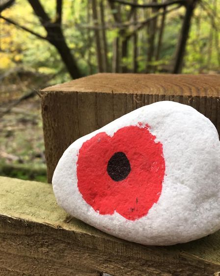 One of the #WGCRocks on display in Sherrardspark Woods to comemmorate the centenary of World War I.