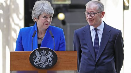 Theresa May issues a statement outside 10 Downing Street as she hands in her resignation to Queen El
