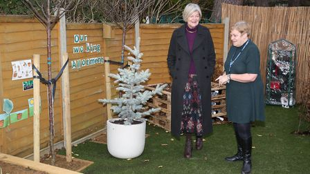 Lady Salisbury at the opening of the new garden at Birchwood Nursery School. Picture: DANNY LOO