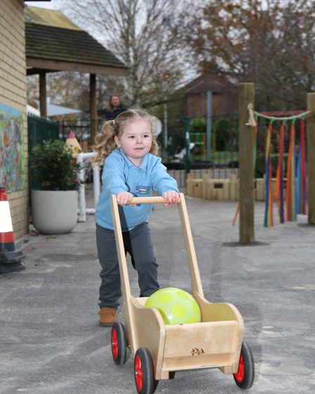 Kids test out the new garden at Birchwood Nursery School. Picture: DANNY LOO