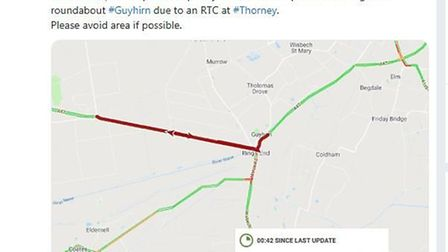 Cambs Travel News. An RTA between Thorney and Ring's End. Picture: CAMBS TRAVEL NEWS