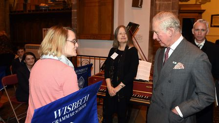 Prince Charles visiting the musicians of Wisbech Grammar School at St Peter and St Paul, Wisbech. Pi
