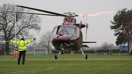 Helicopter land with HRH Prince Charles and the Duchess of Cornwall at Wisbech Grammar School., Pict