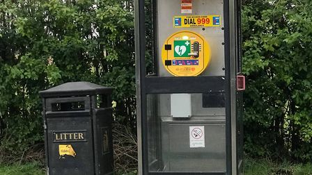 A phone box that houses a defibrillator has been vandalised in Leverington while the life-saving dev