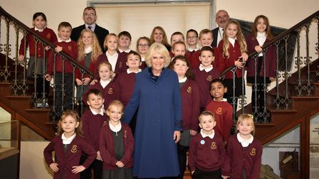 Children in Wisbech were treated to a visit from The Duchess of Cornwall who presented them with 50