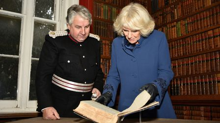HRH The Duchess of Cornwall with Richard Barnwell, Vice Lord-Lieutenant for Cambridgeshire, reading