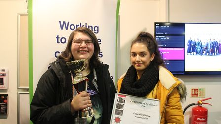 Oaklands College students Evie Gallagher and Hollie Claridge were presented with awards for their sh