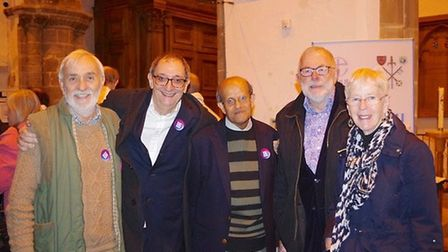 Left to right. Sean Finlay, Wisbech Interfaith Forum, Mike `levy from the choir, Bharat Khetani, W