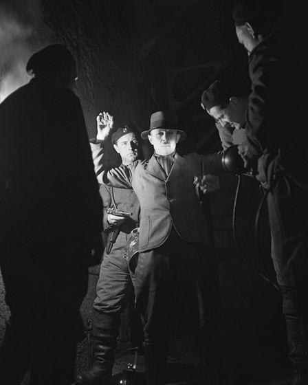 A scene during the filming of the 1949 British film noir 'The Third Man' on location in Vienna, Aust