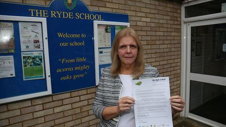 Head of The Ryde School Sue Thompson with a letter she has penned to parents, encouraging them to wr