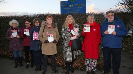 MP candidate Rosie Newbigging (third from right) with Stop The Education Cuts in Welwyn and Hatfield