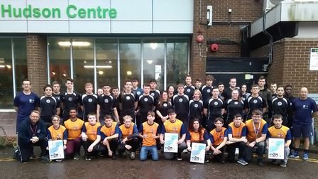 Students and staff from CWAs Wisbech campus outside the Hudson Centre, Wisbech, where the triathlon