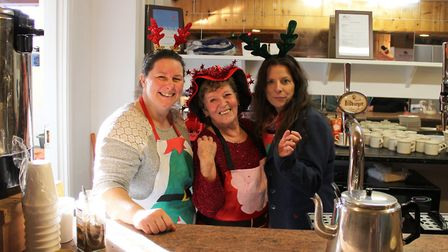 Golden Age Fair at Friday Bridge: Serving free refreshments and mince pies are, from left, Lisa Sear