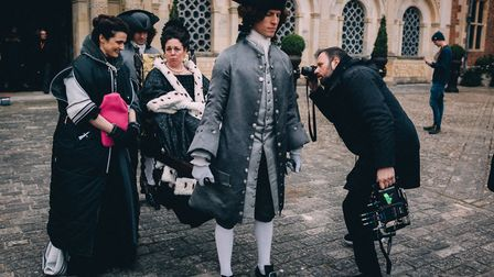 Filming of The Favourite at Hatfield House with Rachel Weisz and Olivia Colman on set of Yorgos Lant