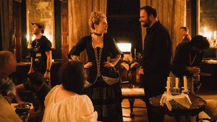 Emma Stone and director Yorgos Lanthimos on the set of Fox Searchlight Pictures' The Favourite, whic