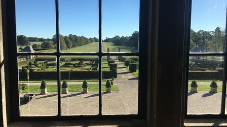 The view out of the window at Hatfield House looking south. The courtyard was used for filming scene