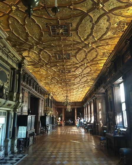 The Long Gallery at Hatfield House with its gold ceiling can be seen in The Favourite. Picture: Alan