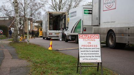 Filming taking place on The Ryde, Hatfield. Picture: DANNY LOO
