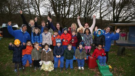 St John's Playgroup staff and children celebrate an outstanding Ofsted report. Picture: DANNY LOO