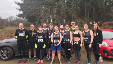 Three Counties Running Club members at the Shouldham cross-country event