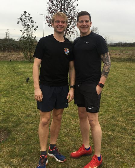 Three Counties Running Club duo Lee Johnson and Graham Rushmer at the Kings Lynn parkrun
