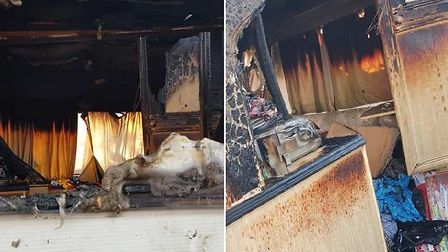 A caravan has been destroyed in an arson attack in Wisbech. Picture: FACEBOOK EMMA CAVE GAVIN CHILTO