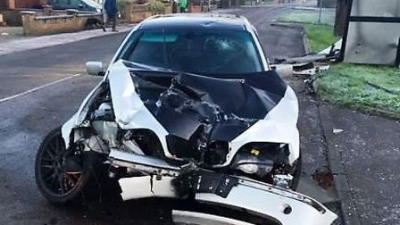 A male driver and his female passenger had a lucky escape when their BMW 330 collided with a bus she